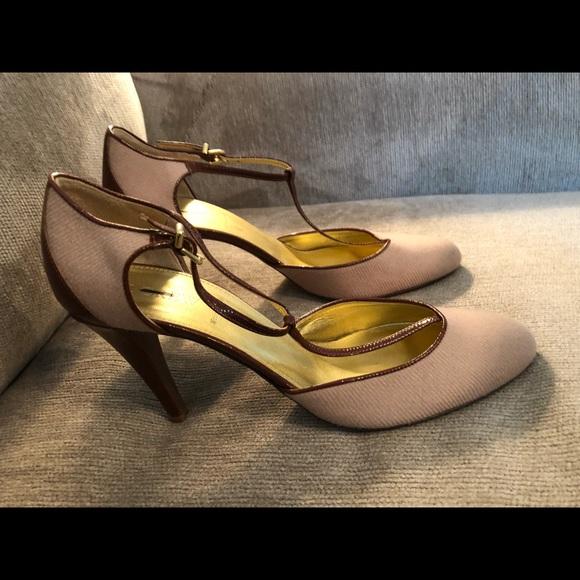 J. Crew Shoes - JCrew Tan & Leather Trim Heels Sz 10